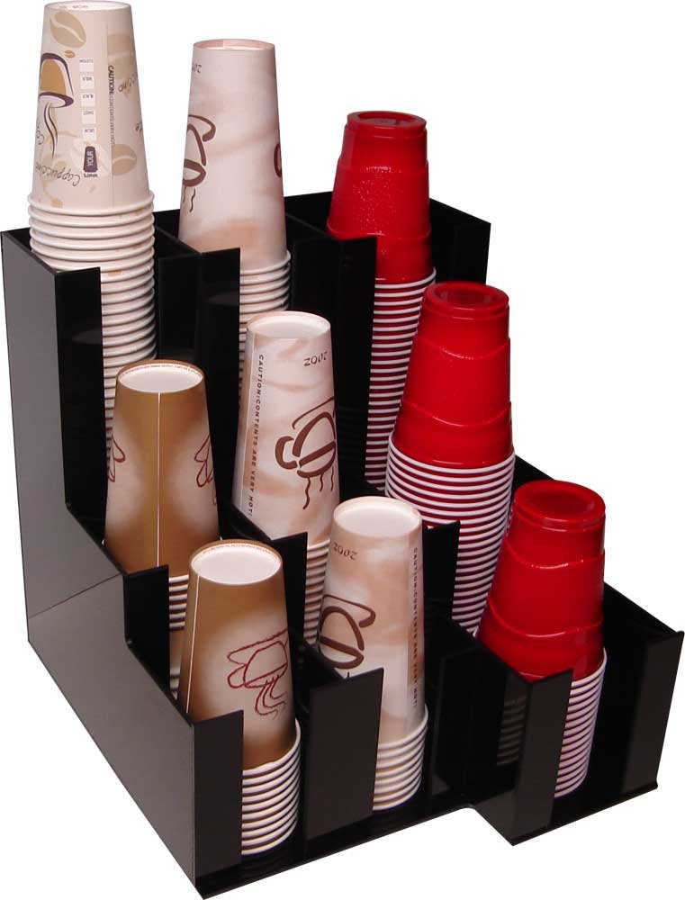 Cup Dispenser for beverage Soda Cups, Coffee Cups and Lids Organizer for Coffee Counters and Breakroom (10076)