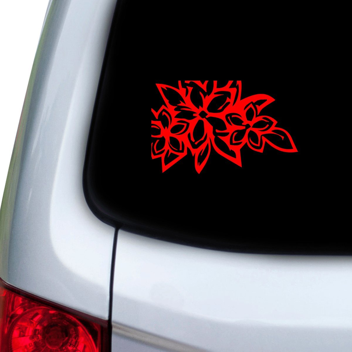 Doors Hoods StickAny Car and Auto Decal Series Flower Corner Bunch Sticker for Windows Red
