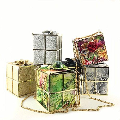 Dames discothèque mode Paquet embrayage nuptiale cadeau boîte créative sac épaule Silver soirée fleur robe diagonale 8xzr8qHw