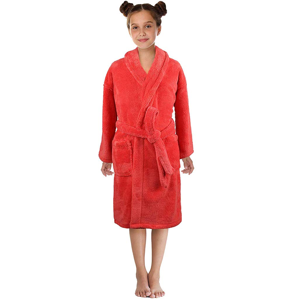 NUWFOR Toddler Boys Girls Solid Flannel Bathrobes Towel Night-Gown Pajamas Sleepwear(Red,3-5 Years)