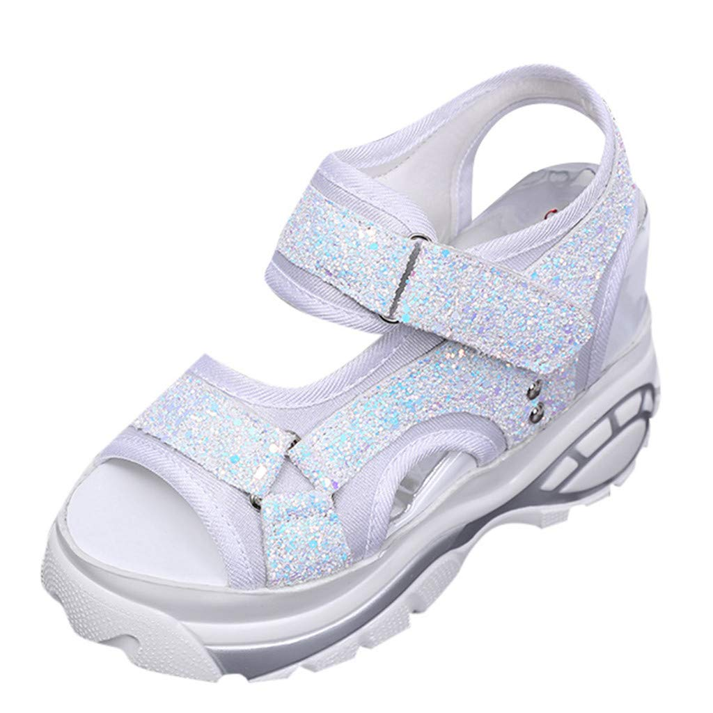 Nadition Leisure Summer Sandals ❤️️ Women's Wedges Shoes Fashion Fish Mouth Sandals Thick Bottomed Sport Sandals White