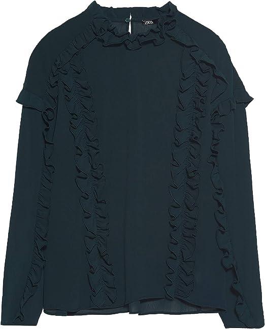Zara 3666/185 Blusa con Volantes para Mujer - Verde - X-Large: Amazon.es: Ropa y accesorios