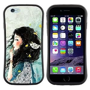 "Pulsar iFace Series Tpu silicona Carcasa Funda Case para Apple (4.7 inches!!!) iPhone 6 Plus / 6S Plus ( 5.5 ) , Señora Woman profundo azul triste"""