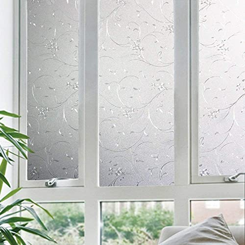 Jahoot Frosted Privacy Window Film, Glass Door Privacy Film Non-Adhesive Window Clings for Home Office Decoration, Anti-UV, Heat Control and Prevent Bird Strikes 35.4×157.4 Inches, Wheat