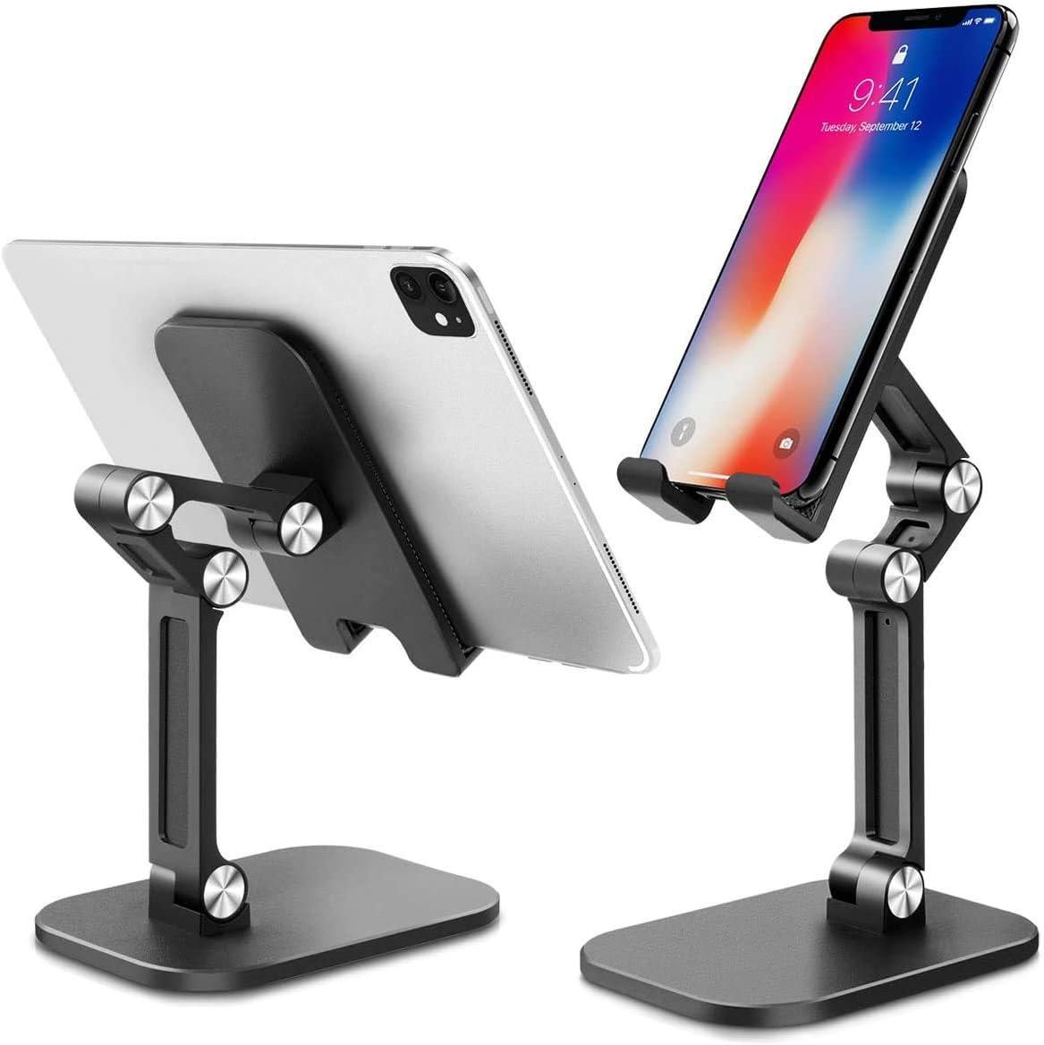 Soporte Movil, Soporte Tablet, Multi-Angulo Soporte Movil Escritorio Plegable, Soporte para Movil Compatible con iPhone X/XS/XS MAX/XR/8/7, Tablet, iPad, Samsung S8 S7, Huawei, Otras Smartphones