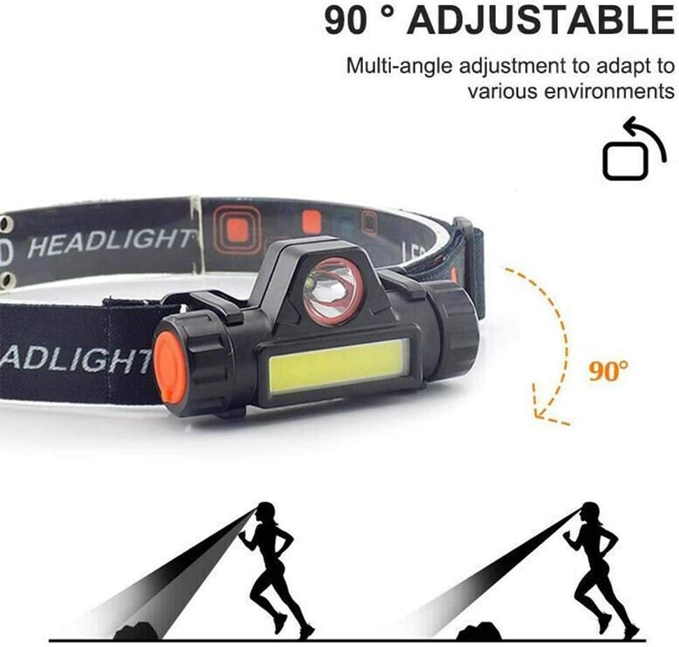 para ni/ños y adultos pesca linterna de luz COB s/úper brillante camping linterna de cabeza resistente al agua MCTY Linterna LED de cabeza ligera senderismo bricolaje recargable por USB correr