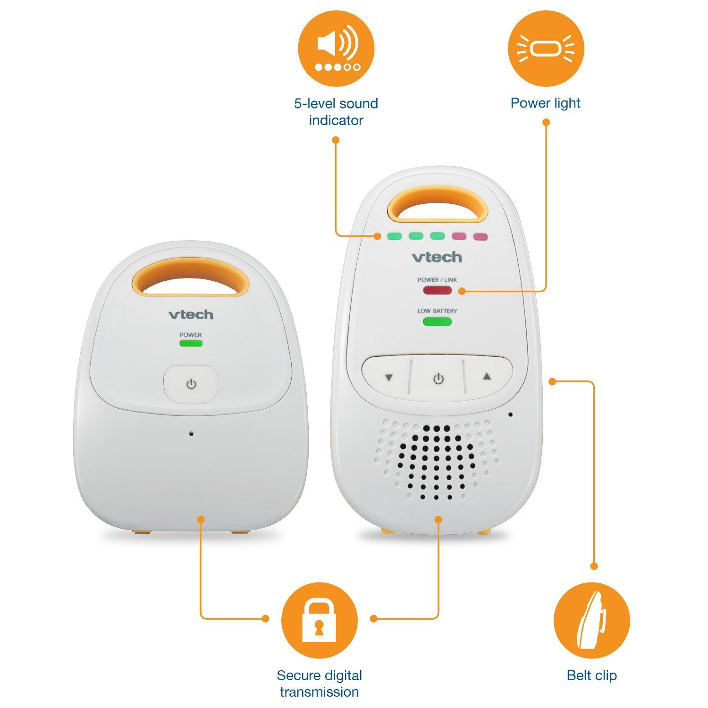 VTech DM111 Audio Baby Monitor with up to 1,000 ft of Range, 5-Level Sound Indicator, Digitized Transmission & Belt Clip by VTech (Image #6)