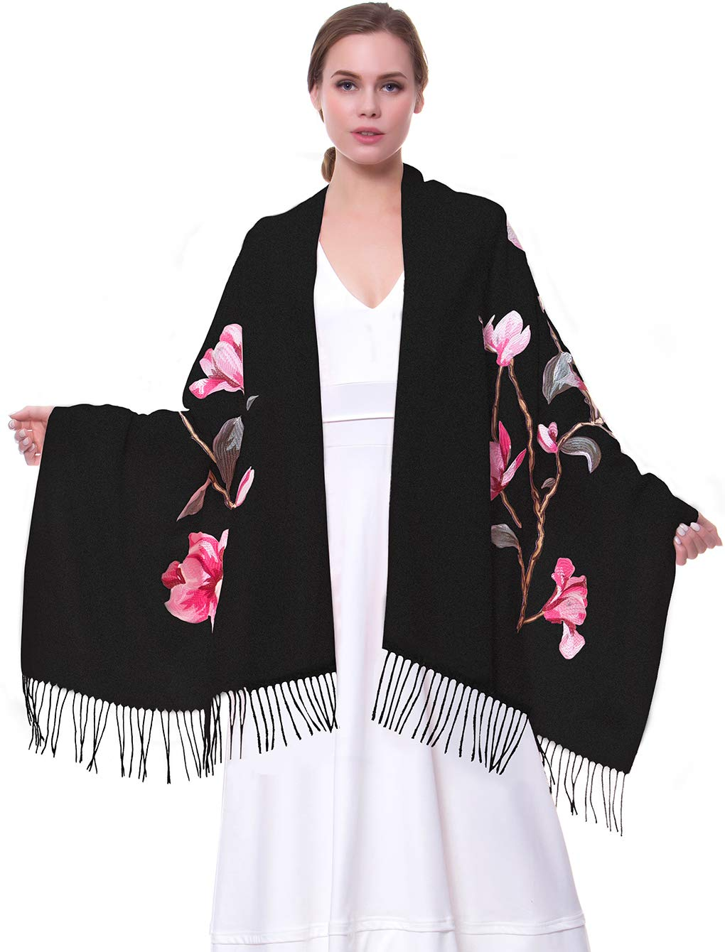 MORCOE Women's Exotic Design Wool Delicate Embroidered Soft Fringe Long Scarf Wrap Ladies Party Shawl Valentines Day Gift (Style 2:Black)