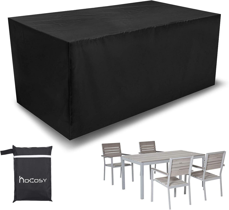 HOCOSY Funda para Mesa de Jardín, Fundas de Muebles Oxford, Impermeable Anti-UV Resistente al Polvo, 210D, 200 X 160 X 70 cm