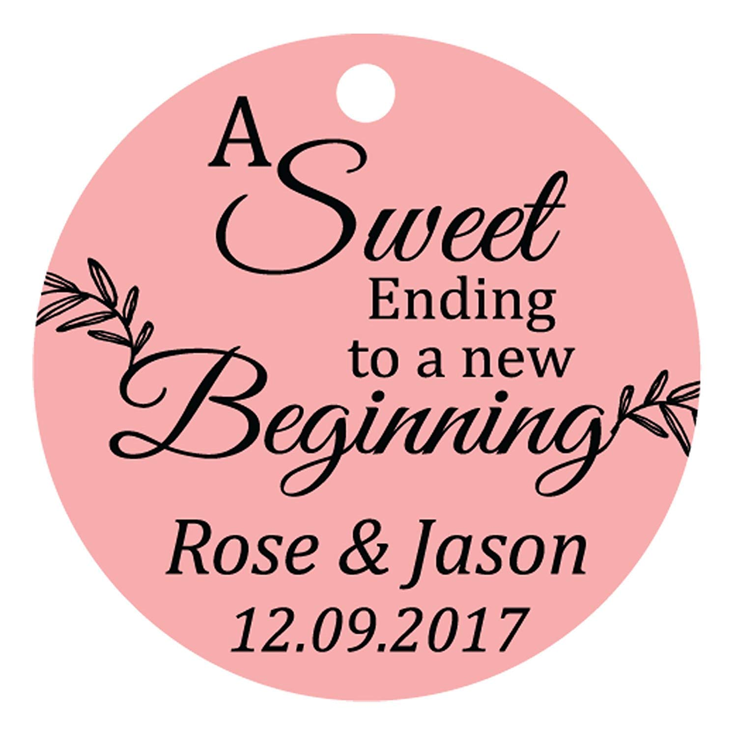 100 PCS A Sweet Ending To A New Begnning Circle Hang Tags Personalized Wedding Favor Gift Tags