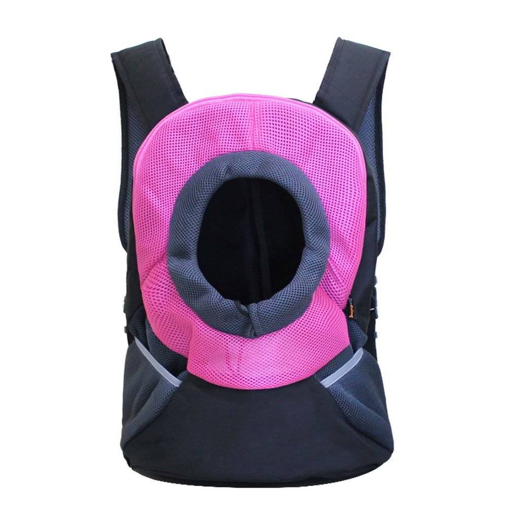 L Pet Backpack Head Out Design Pet Backpack Carrier Portable Travel Outdoor Breathable Pet Cat Dog Puppy Bag Double Shoulder Bags Pink Two Sizes Beds (Size   L)