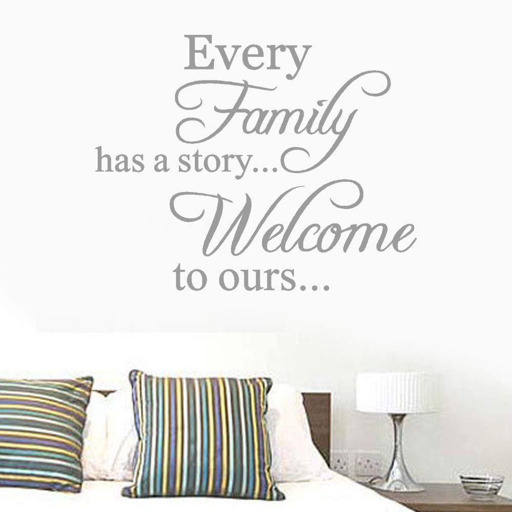 MONsin Baby Wall Sticker, Every Family Has A Story Wall Stickers Quote Welcome to Ours Self - Adhesive Instant Wall Decal Sticker Words Living Room Bedroom (Gray)