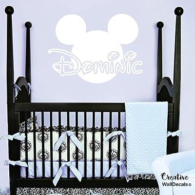 CreativeWallDecals Vinyl Wall Decal Sticker Mickey Mouse Kids Nursery Disney Custom Name r1889: Home & Kitchen