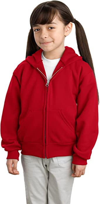 Maroon Port /& Company-Youth Pullover Hooded Sweatshirt