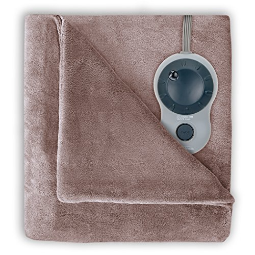 Sunbeam Velvet Plush Heated Blanket, Queen Size, Mushroom