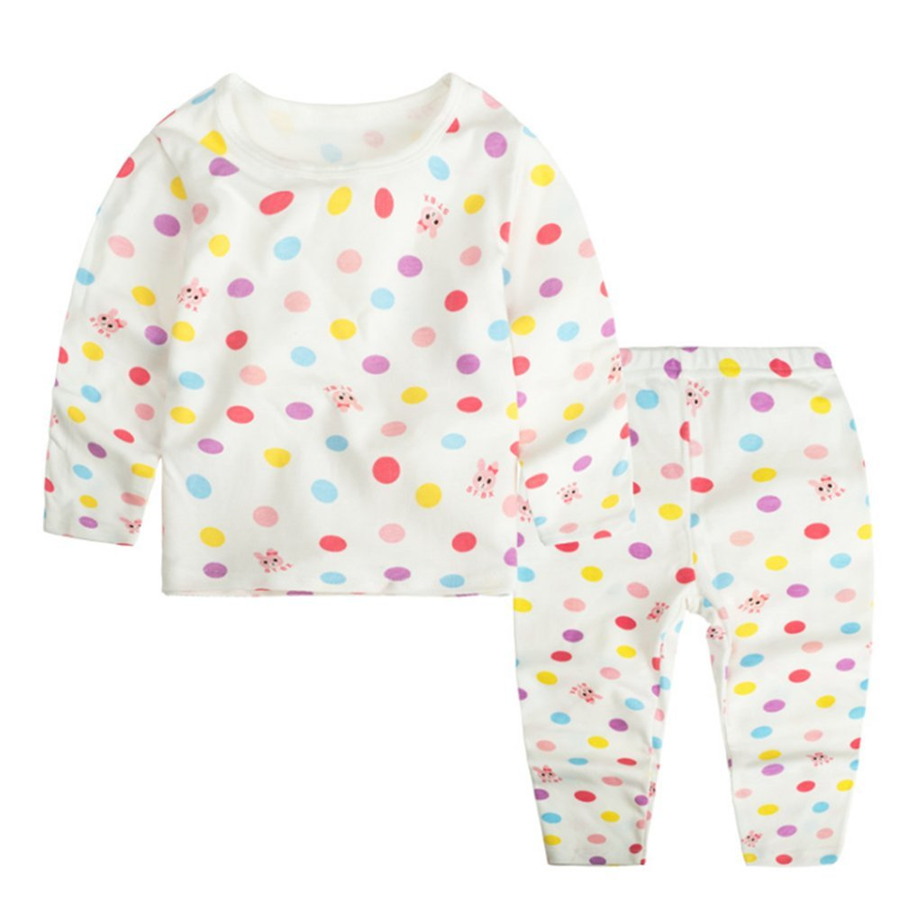 JIEYA Baby Girls Kids Children Printed Pajamas Set Long Sleeve Sleepwear