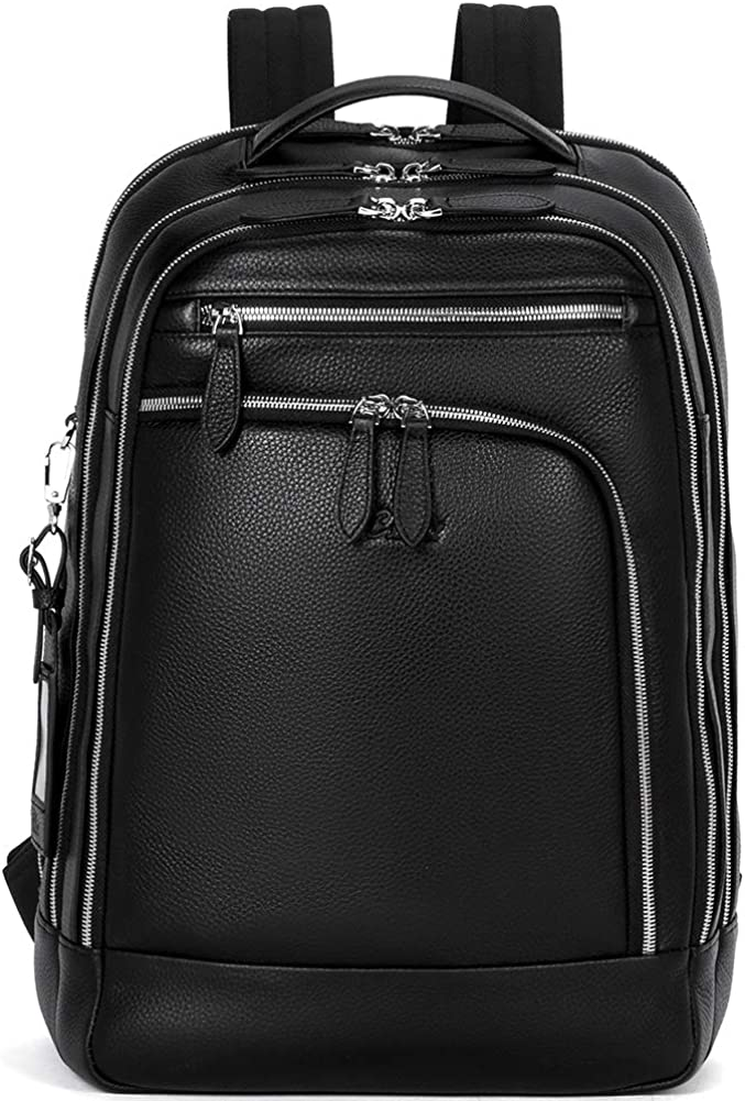 CLUCI Men Leather Backpack Business Large Capacity 15.6 Inch Laptop Travel Bag Black