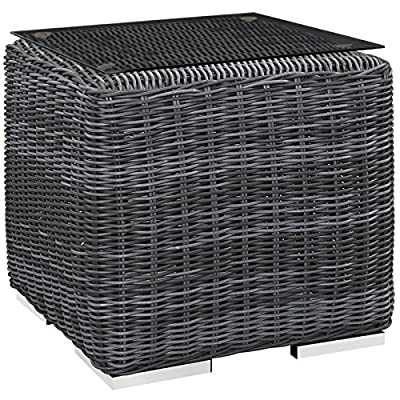 Modway EEI-1867-GRY Summon Wicker Rattan Outdoor Patio Square Side Table, 0 - PATIO REFRESH - Update your backyard or porch with inviting outdoor furniture. Effortlessly accommodate the needs of your outdoor space with furniture that's great for both entertaining and relaxing WEATHER-RESISTANT - Featuring a powder-coated aluminum frame, this modern outdoor patio side table comes with a thick two-tone synthetic rattan weave, with UV protection for years of outdoor use CONTEMPORARY MODERN STYLE - Clean lines, rounded corners, and a sleek profile enhance the modern look of this side table. This outdoor collection opens up endless configurations to suit any occasion - patio-tables, patio-furniture, patio - 61F13gtEZ9L. SS400  -