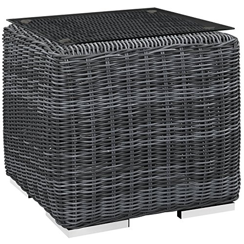 Modway EEI-1867-GRY Summon Wicker Rattan Outdoor Patio Square Side Table, 0 ()