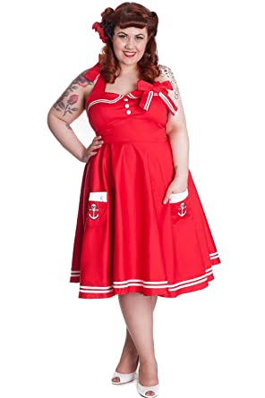 Hell Bunny Plus Size 50s Motley Holiday Red Sailor Pinup Dress At