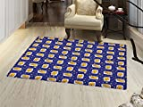 Cats Floor Mat for kids Sleeping Cats on Pillows in Starry Night Sky Sweet Dreams for Kids Door Mat Increase Royal Blue Earth Yellow White
