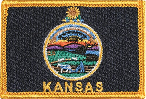 Kansas Flag Novelty Patch with Gold Border