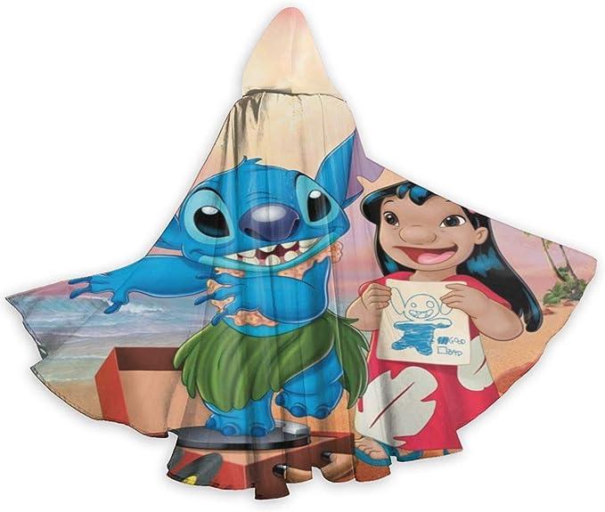 Suixianhaimiaobaihuodian Lilo y Stitch Capa con Capucha Capa Larga ...