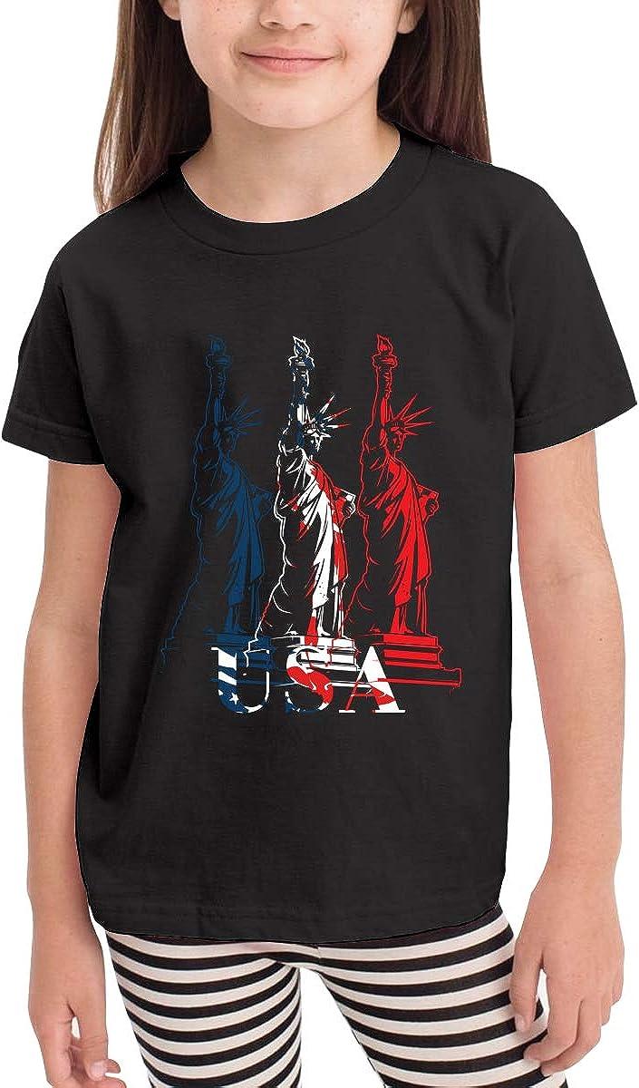 Statue of Liberty Toddler Boys Girls Short Sleeve T Shirt Kids Summer Top Tee 100/% Cotton Clothes 2-6 T