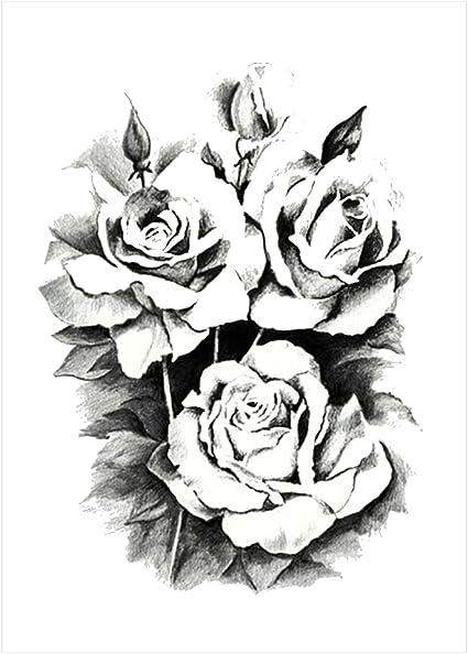 Tatuaje adhesivo de Rosas negras, KM 101, resistente al agua ...