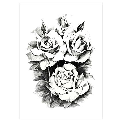 Tatuaje Adhesivo De Rosas Negras Km 101 Resistente Al Agua Amazon