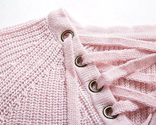 Mujer Suéter Moda Casual Blusa Manga Larga Camisa Camiseta Con Cuello en V Tops Rosado