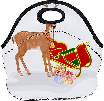 Lunch Handbag,Reno Navideño Con Trineo De Papá Noel Y Regalos ...