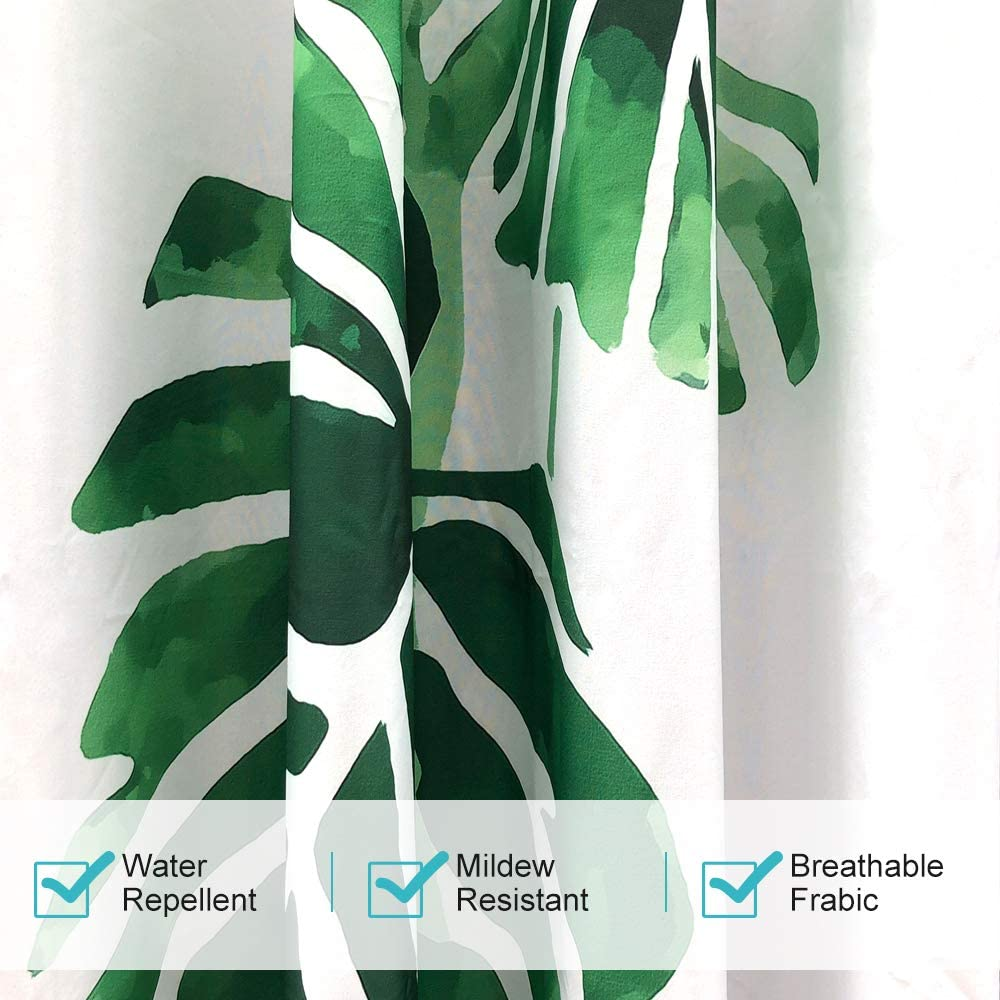 """HGMart Green Leaves Print Outdoor Curtain Panel for Porch Patio,Privacy Drape Grommets Window Curtain with UV Ray Protected and Waterproof,Easy to Hang On 59/""""x84/"""",1Panel"""