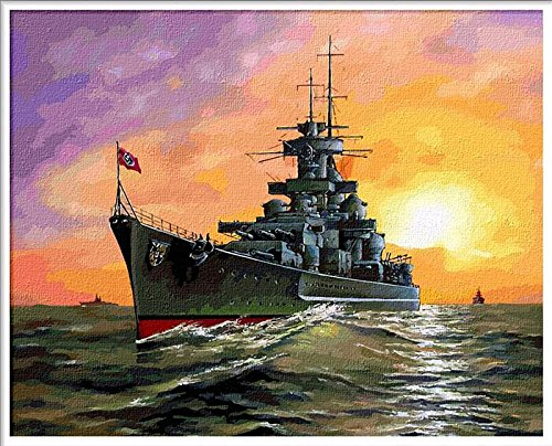 Prime Leader Wooden Framed Diy Oil Painting, Paint By Number Kit Warships 2 16x20 Inch
