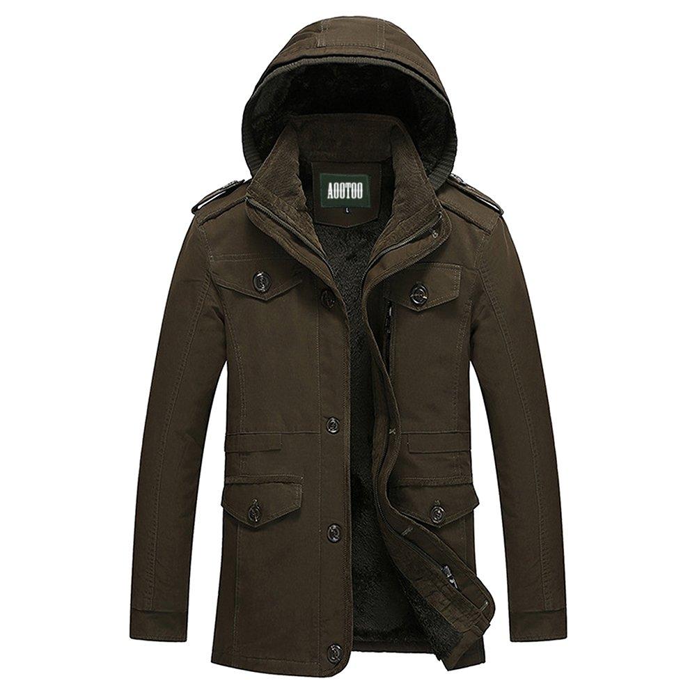 AooToo Mens Warm Detachable Hooded Winter Coat M) 20161128001007