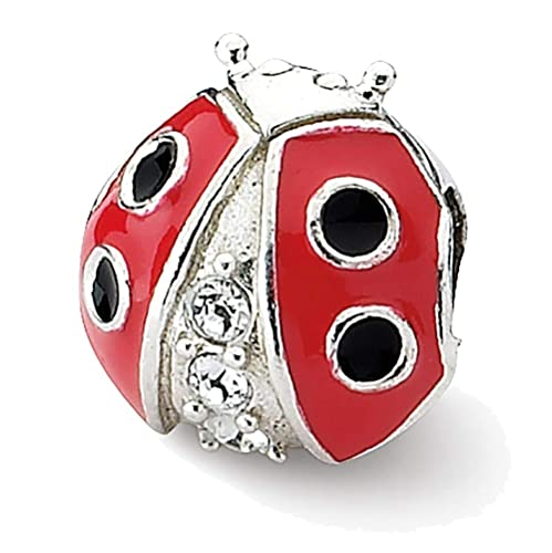 Sterling Silver Reflection Ladybug with Crystal Solid Bead