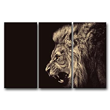 3 Panel Wall Art Painting Roar Lion Pictures Prints On Canvas Animal The  Picture Decor Oil