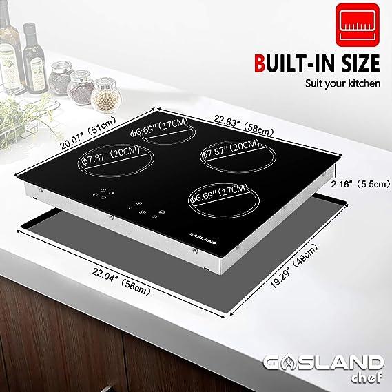 Gasland Chef CH60BF - Mesa de cocina vitrocerámica (60 cm, 4 ...