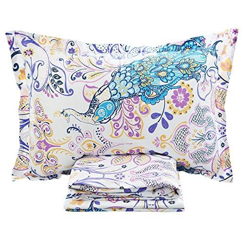 FADFAY 4 Piece Peacock Bed Sheet Set Luxury Bedding Collections Designer Bedding 800 Thread Count 100% Egyptian Cotton Deep Pocket- Queen