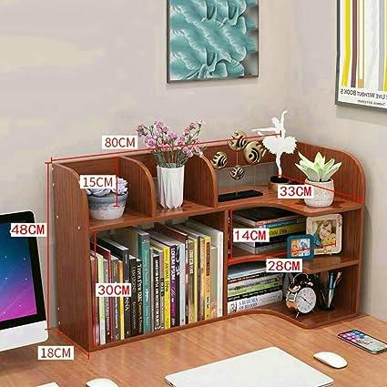 Madera Organizador Sobremesa,multiusos Estantería De Escritorio Para Escritorio Vanity Mesa En El Hogar U Oficina-color De Teca 80x18x48cm(31x7x19inch): Amazon.es: Oficina y papelería