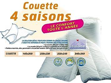 Bleu Calin Couette Synthétique 4 Saisons Blanc 220x240 Cm