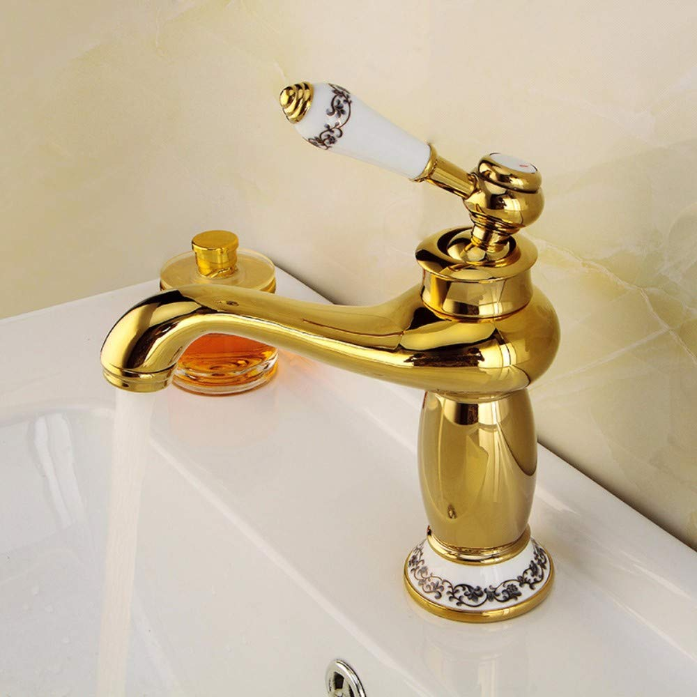 redOOY Faucet Taps Copper gold Faucet Hot And Cold Water Mixer Kitchen Faucet Bathroom Single Hole Basin Faucet