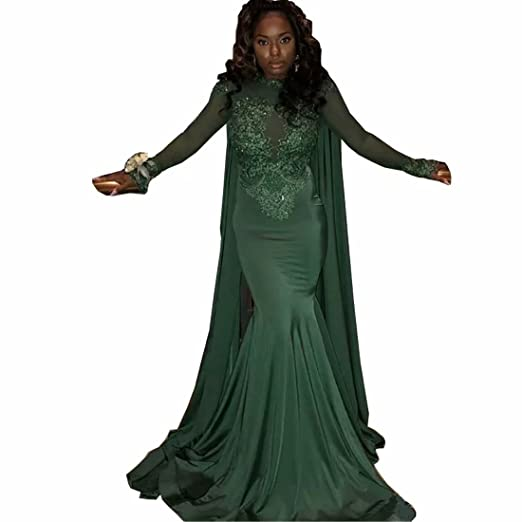 e88b698afc Chady 2018 Dark Green Mermaid Prom Dresses Modest Sheer Long Sleeves  Appliques Illusion Back Evening Party Gowns at Amazon Women s Clothing  store