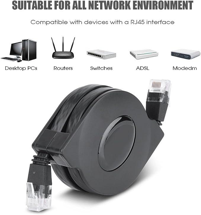 Cat6 Ethernet Kabel Ultraflach Verstellbar Einziehbar Cat6 Rj45 Lan Netzwerkkabel Patch Geschirmt Flaches Ethernet Kabel 1 M Gewerbe Industrie Wissenschaft