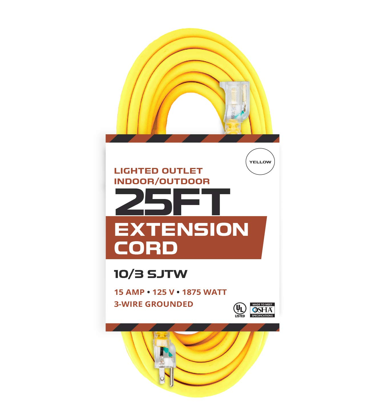25 Foot Lighted Outdoor Extension Cord - 10/3 SJTW Yellow 10 Gauge Extension Cable with 3 Prong Grounded Plug for Safety - Great for Garden and Major Appliances