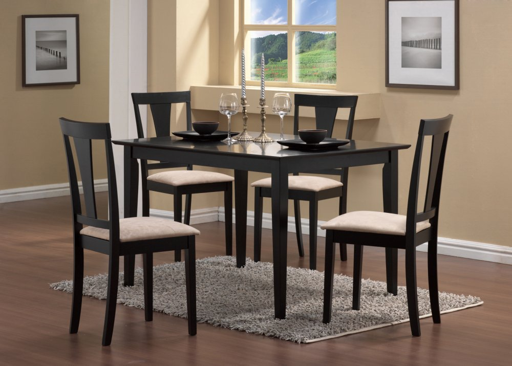 Amazon Com 5 Piece Dining Set In Black Coaster Table Chair