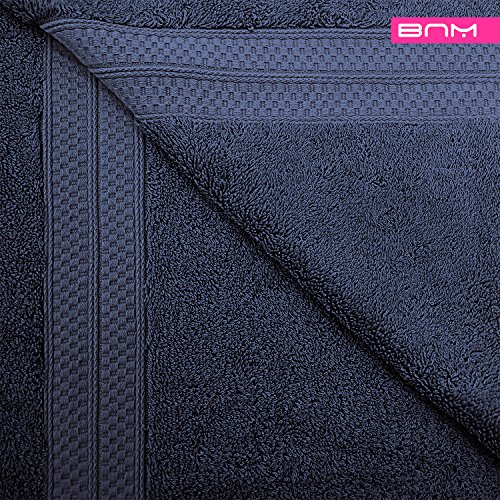 Rayon from Bamboo and Cotton, 18-Piece Bathroom Towel Set, Highly Absorbent, Super Velvety Soft, Dobby Checkered Dual Border, River Blue by Blue Nile Mills (Image #5)