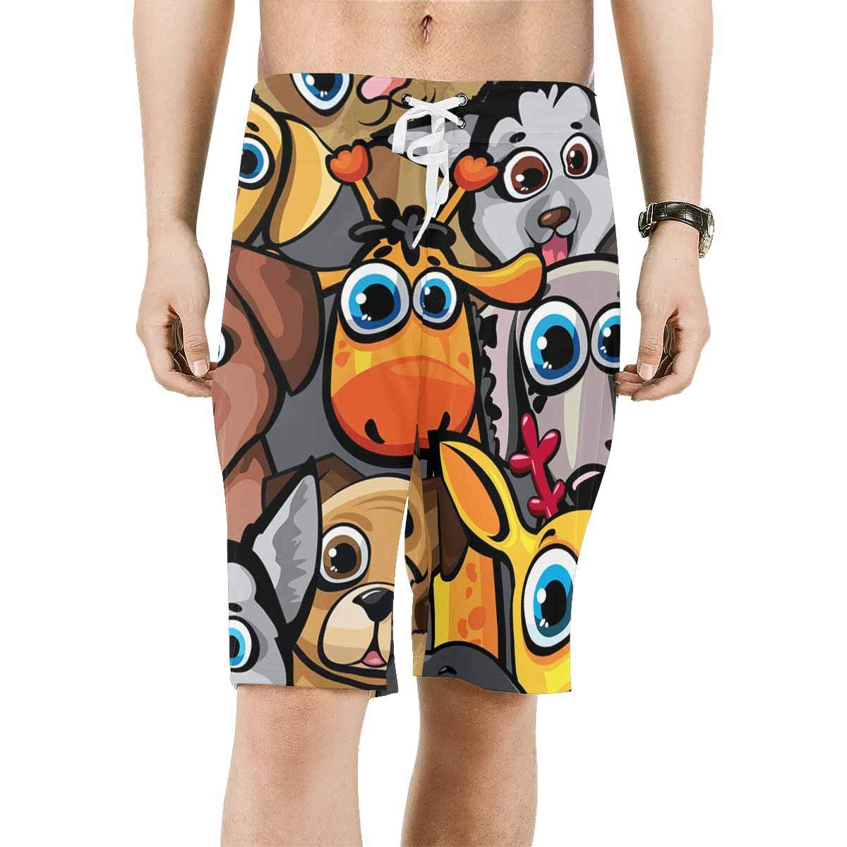 INTERESTPRINT Mens Water Shorts Funny Dogs Cat Deer Quick Dry Beach Shorts XS-6XL