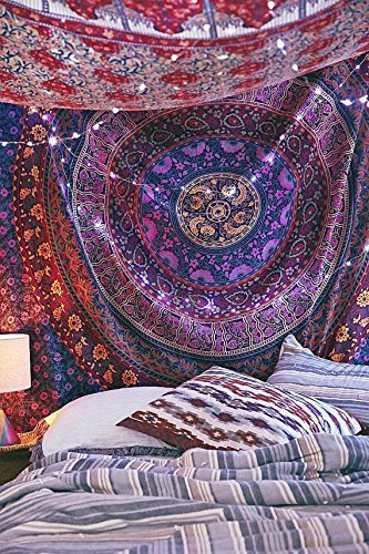 The Boho Street - Exclusive Twin Hippie Mandala Tapestry , Beautiful Indian Wall Art, Perfect Gift, Hippie Wall Hanging, Bohemian Bedspread, 54