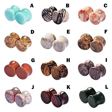 D&M Jewelry 2 Piezas de Orgánica Piedra, Dilatador de Piedra Pulida para los Oídos,